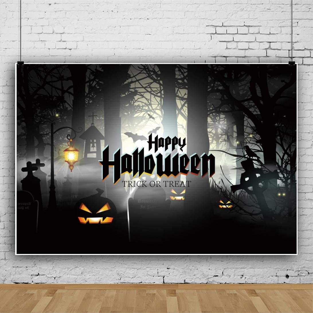 SZZWY 5x3ft Halloween Backdrop Halloween Theme Background for Photography Trick or Treat Theme Grimace Pumpkin Cemetery Twilight Misty Forest Foggy Child Baby Portrait Polyester Wallpaper