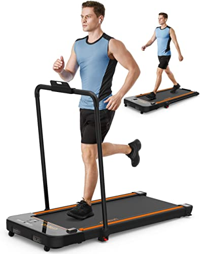 UREVO 2 in 1 Under Desk Treadmill, 2.5HP Folding Electric Treadmill Walking Jogging Machine for Home Office with Remo...