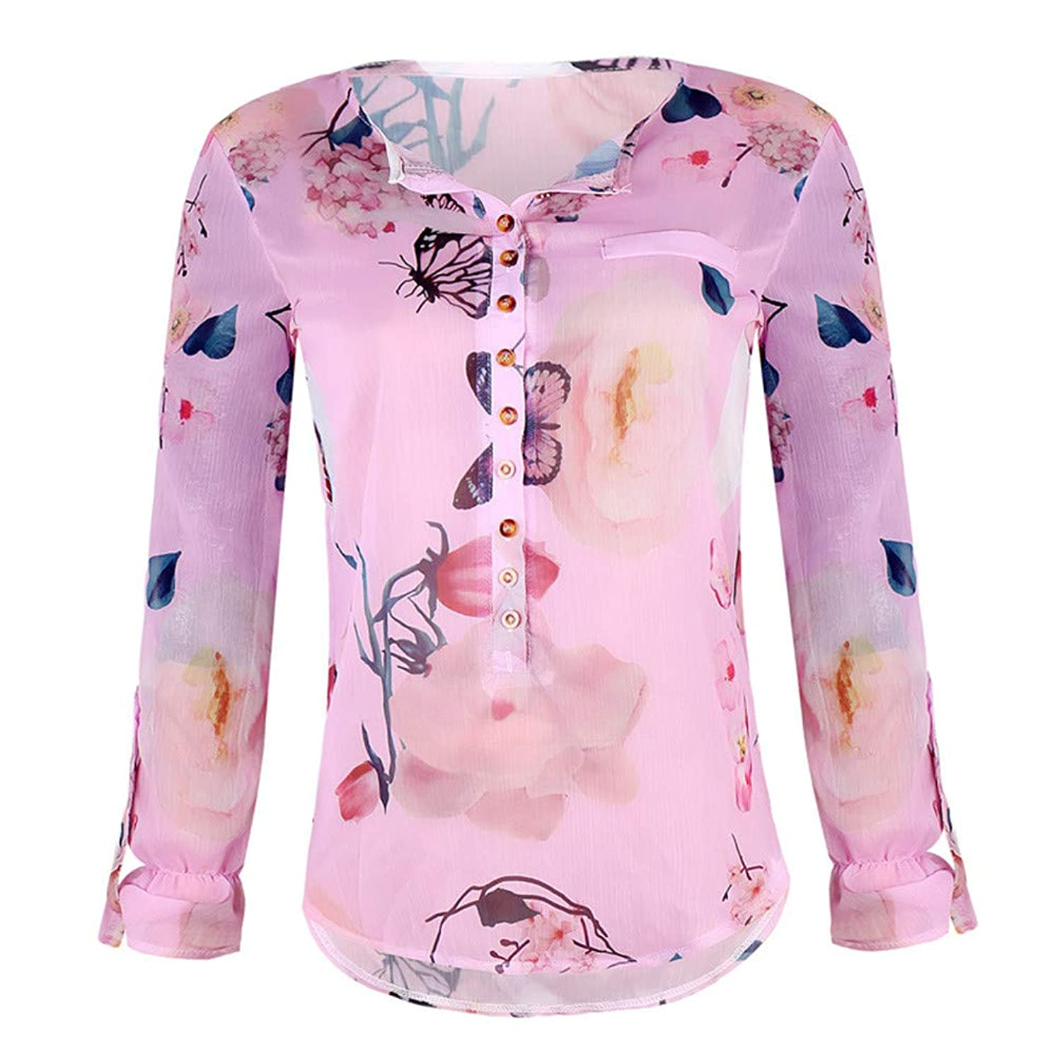 UONQD Women Floral Printed Button T-Shirt Chiffon Irregular Hem Top Plus Size