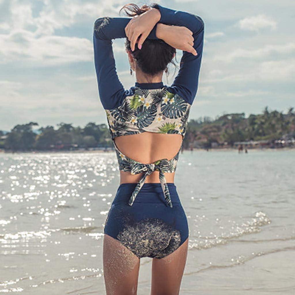 Kangma Swimsuits Tummy Control Swimwear Bathing Suits for Women Round Neck Long Sleeve Printing High Waist Tankini Swimsuit Navy Blue