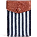FRIFUN Card Holder for Back of Phone with snap Ultra-Slim Self Adhesive Phone Wallet Stick on Cell Phone Android All Smartphones RFID Blocking Sleeve Covers Credit Cards and Cash(Stripe)