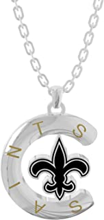 Football Necklace Pendant Jewelry Gifts for Women Girl 18K White Gold Plated