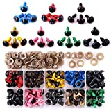 ◕‿◕ Swpeet 90pcs 12MM 9 Color Plastic Safety Eyes and 10Pcs 12MM Noses Set for Doll, Puppet, Plush Animal Making and Teddy Bear