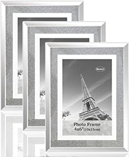 meetart Sparkle Crystal Silver Glitter Mirror Glass Photo Frame for Photo Size 4x6 Pack of 3 Piece