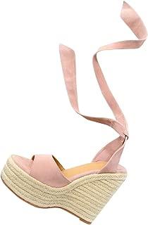 Womens Espadrille Wedge Platform Peep Toe Sandal Lace Up Summer Ankle Wrap Shoes Slingback Dress Shoes