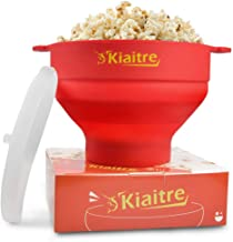 Kiaitre Microwave Popcorn Popper - Silicone Popcorn Popper with FDA Approved , Collapsible Popcorn Popper with Lid, Handles and Dishwasher Safe, Popcorn Maker Bowl for Halloween, Thanksgiving, Christmas, Birthday and Party lovers.