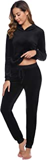 Aiboria Women's Solid Velour Sweatsuit Set Hoodie and Pants Sport Suits Tracksuits