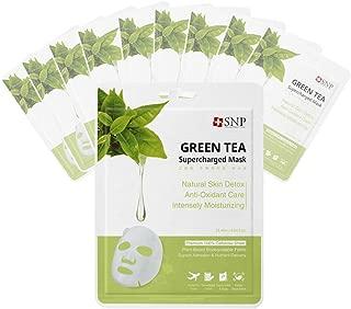 SNP - Green Tea Supercharged Soothing Korean Face Sheet Mask - 10 Sheet Pack