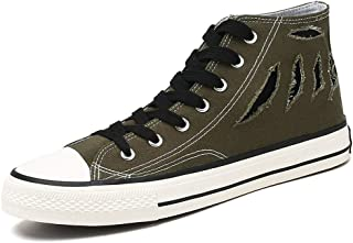 CHAHANG Canvas Sneakers Men's high-top Casual Walking Sneakers with Soft Cloth Round Toe Flat Shoes wear-Resistant