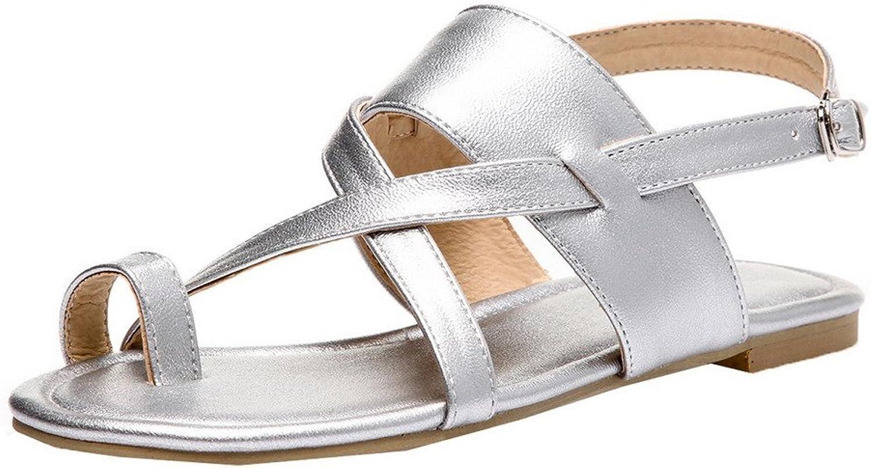 WeiPoot Women's PU Solid Buckle Open Toe Low-Heels Sandals