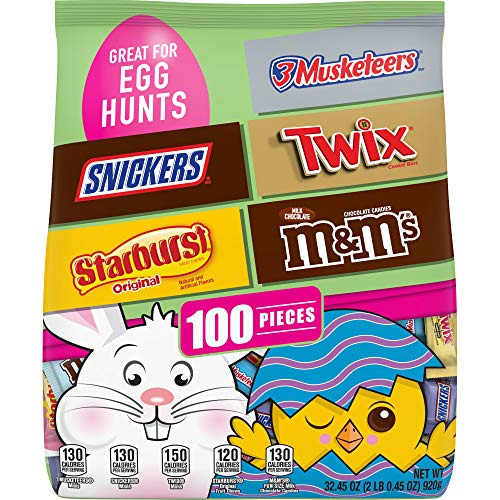 M&M'S, Snickers, Twix, 3 Musketeers & Starburst Chocolate Easter Candy, 32.45-Ounce 100 Piece Bag