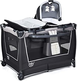 Baby Travel Cot, 4-IN-1 Convertible & Folding Portacot Baby Playard, Wide Activity Center, Foldable Bassinet Bed/Playpen, ...