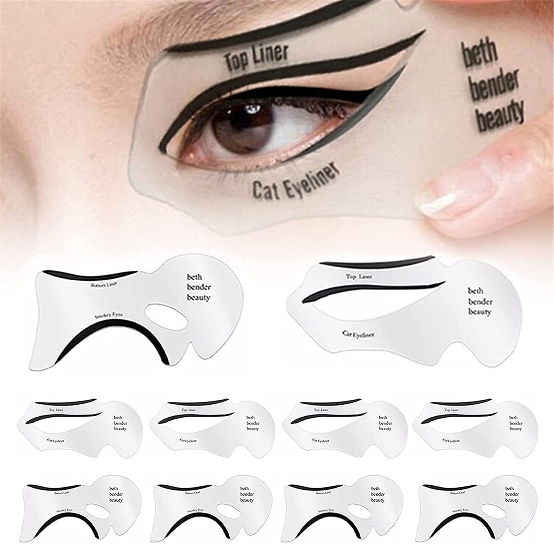 10 Pieces Eyeliner Topics on TV Stencil Set 3 Tool Makeup Quick Eye Seconds Deluxe