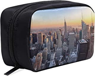 New York City Skyline Over River Portable Travel Makeup Cosmetic Bags Organizer Multifunction Case Small Toiletry Bags For Women And Men Brushes Case