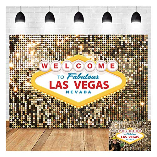 Welcome to Las Vegas Photography Backdrops 7x5ft Vinyl Fabulous Casino Poker Movie Themed Vintage Costume Dress-up Birthday Prom Ceremony Photo Background Studio Booth Props Supplies