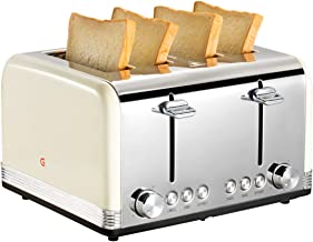 Gohyo 4 Slice Toaster 100% Stainless Steel with Wide Slots & Removable Crumb Tray for Bread & Bagels (Beige)