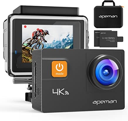 Apeman Action Camera, Wi-Fi Sports Camera, 4 K, 20 MP, Ultra Full HD Underwater Camera, Helmet Camera, Waterproof, with 2Improved Batteries, Carry Case and Free Accessories