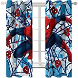 DJOIEPO Spiderman Blackout curtains eyelet 66x54 inch,2 Panels,3D patterned Blackout curtains for kids bedroom Thermal Insulated Noise Reduce Soft Blackout Curtain for boys girls bedroom,Red