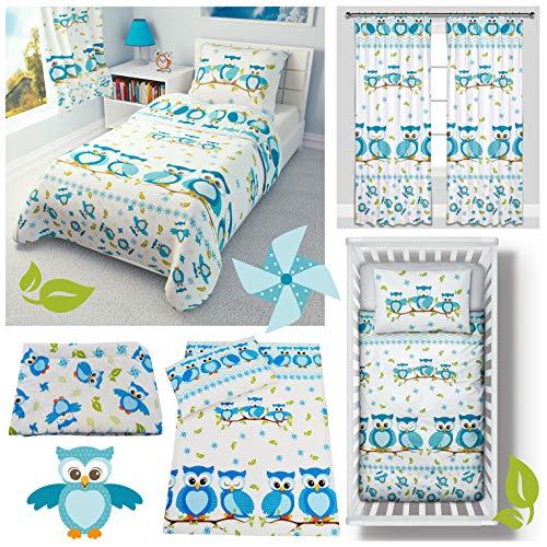 Baby Blue Owls Cot Bed Bedding Set 4-Piece incl Duvet + Pillow + Duvet Cover + Pillowcase 100% Cotton (100x135 cm)
