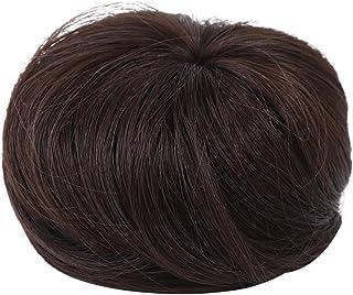 Hair Extensions, Synthetic Hair Bun Wig Hair Chignon Wig Hair Plate Tool Hairpiece Wig Dark Brown