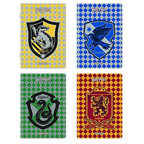 QUADERNO Gryffindor Revenclaw Hufflepuff Slytherin 4 Stck. Kariert 4 mm + Gratis Schlüsselanhänger Jrabrilla + Lesezeichen