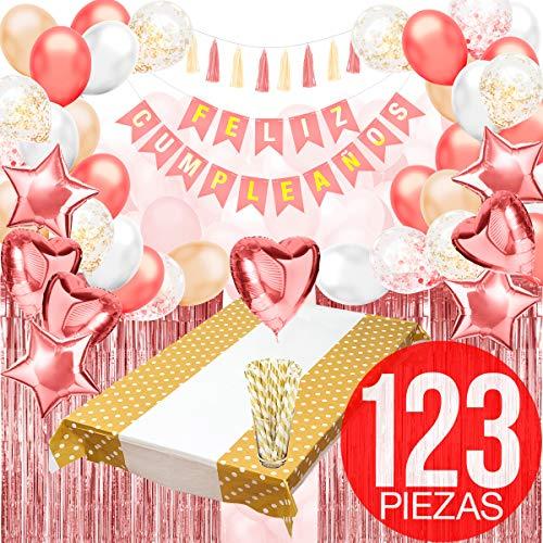 Decoracion Cumpleaños (123 PIEZAS)- Pack Incluye Pancarta' Feliz Cumpleaños', Globos, Guirnaldas, Pajitas, Banderines, Pompones, Cortinas y Mucho Mas… (Español Color Rosa)
