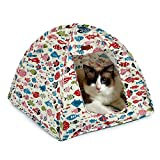 DogLemi Cat Pet Tent House - 15.7'' Bed Cushion Included - Foldable Condos Durable Cute Fish Design Cave - 15.7'' x 15.7'' x 13.7''