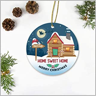 Merry Christmas Ornaments 2019 Home Sweet Home Tinley Park City Hometown Ornament Gift Ideas For Family, Friend - Christmas Tree Decorations Ornaments 3 Inches Ceramic