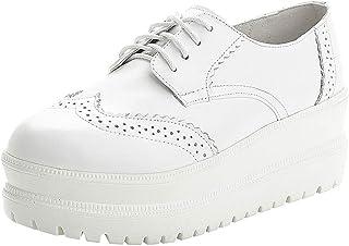 rismart Donna Brogue Design Zeppa Moda Nero Pelle Scarpe da Sneaker