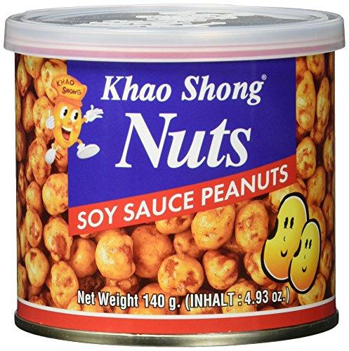 Khao Shong Erdnüsse mit Sojasauce, knackige Erdnüsse mit würziger Sojasoße überzogen, knusprige Nüsse, salziger Snack für unterwegs, (1 x 140 g Dose)
