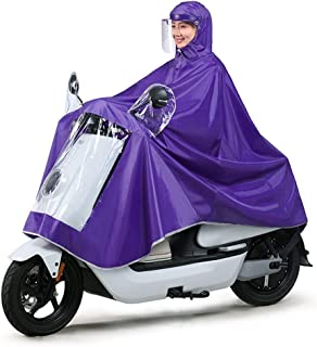 HYBAUDP Raincoat Poncho Set Single Electric Bike Raincoat, Oxford Cloth Rainwear Portable Waterproo Thickening Ride Poncho for Outdoor Hiking Camping Unisex Rain Suit XXXXL (Color : Purple)