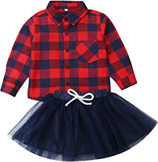 Canrulo 2Pcs/Set Christmas Baby Girls Button Down Plaid Flannel T-Shirt +Sweet Tutu Skirt Outfits