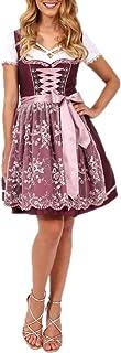 Krüger Dirndl 49705-90 Bordeaux   Modell Aralie 50er Länge kurz   Farbe weinrot rosa   Spitzenschürze