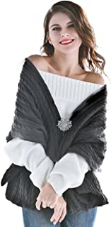 Aukmla Women's Knitted Scarf Pashminas Shawls and scarves Poncho with Brooch (Grey)
