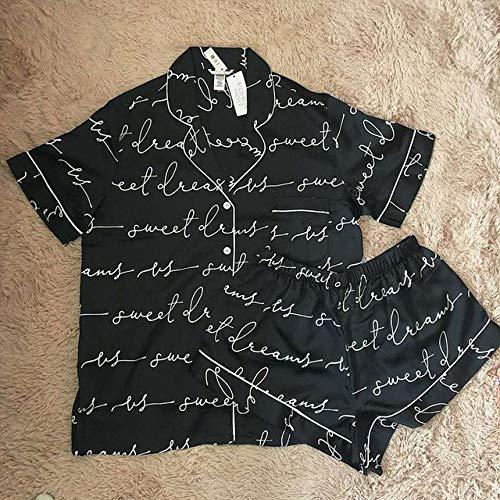 JFCDB Nachthemd 2020 nieuwe mode dameskleding Zomer nieuwe pyjama met korte mouwen vrouwelijke korte paragraaf brief meisje Pyjama Comfortabel, Zwart, M