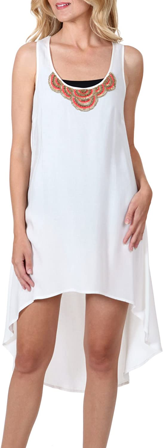 Wearabouts Dotti Womens Wow Factor Tank Dress Cover up Medium Ivory