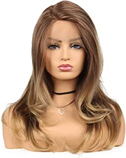 Brown And Blonde Long Wavy Lace Front Wig for Women Natural Ombre Golden Heat Resistant Synthetic Hair Full Wigs 18 Inches