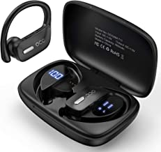 Occiam Bluetooth Headphones-True Wireless Earbuds 48Hrs Playtime Earphones TWS Deep Bass Loud Voice Call Over Ear Waterproof with Microphone Smart LED Display for Sports Running Gaming Workout(Black