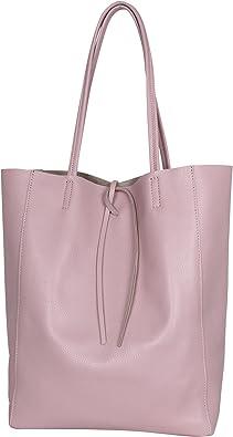 AmbraModa GL032 - Italienische Handtasche, Shopper, Schultertasche, Einkaufstasche mit Innentasche aus echtem Leder