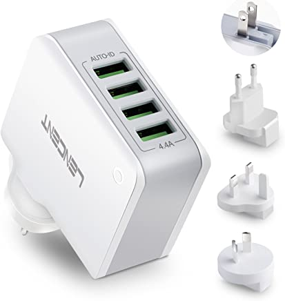 USB Charger Plug, Lencent 4-Port USB Universal Travel Adaptor, 22W/5V 4.4A Wall Charger Plug with UK/USA/EU/AUS Worldwide Travel Charger Adapter for iPhone, iPad, Android Phones, Tablets, Power Bank and More