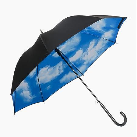 傘と日傘専門店リーベン(Lieben) 長傘 外側ブラック、内側ブルー 60cm×8本骨 ジャンプ傘 青空 LIEBEN-0480
