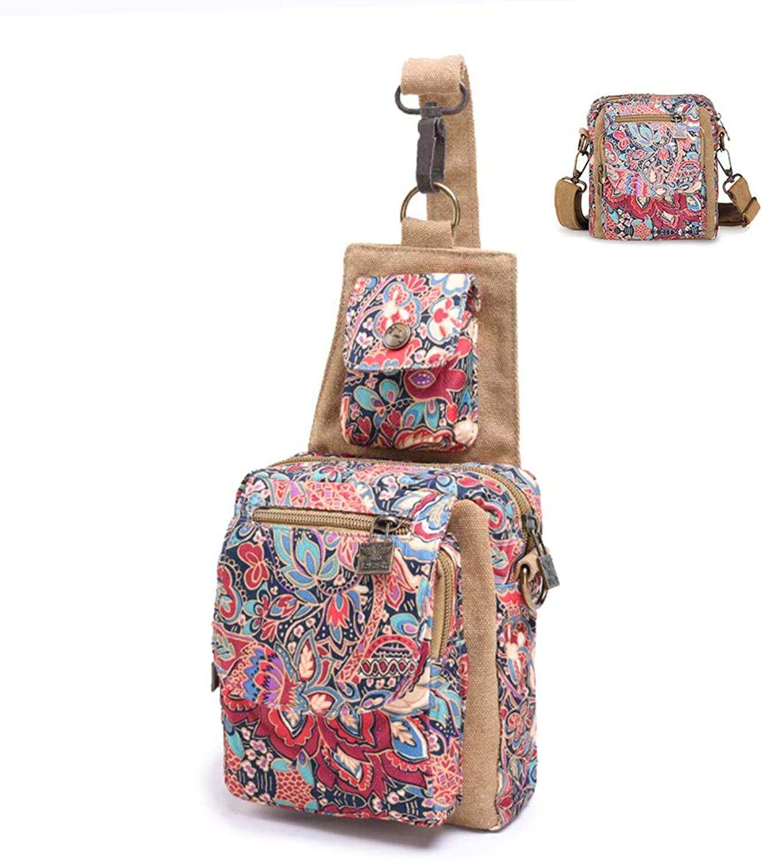 Black Butterfly Dual Purpose Chest Pack Crossbody Bag Canvas Shoulder Bags Original Bohemia for Women Teen Girls Outdoor