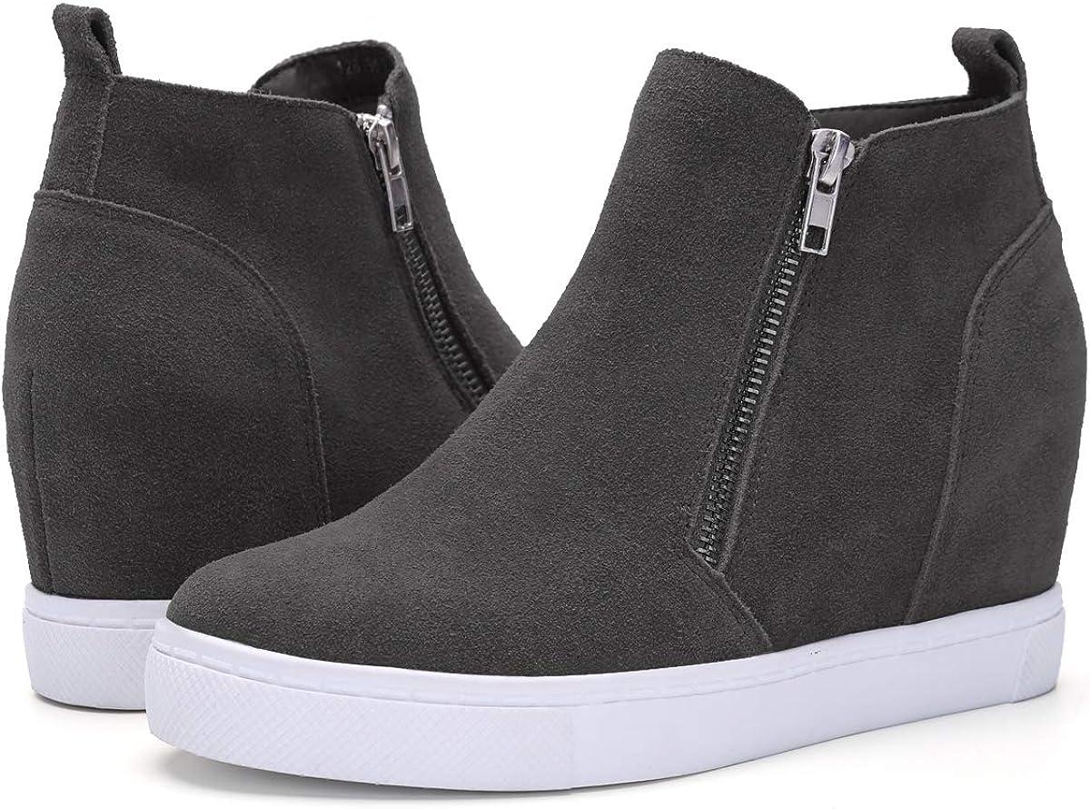 Athlefit Popular standard Women's Hidden Wedge Sneakers Zipper Shoes Free shipping / New Sneake