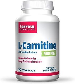 Jarrow Formulas L-Carnitine 500 mg - 50 Veggie Caps - Important Cofactor for Energy Production (ATP) from Fats - L-Carniti...