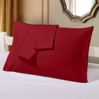 Cloth Fusion Satin Stripe 210 TC Cotton Pillow Covers Set of 2 (18×27 Inch, Bloody Red)