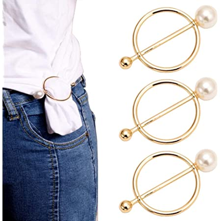 30mm//1.2inch 5PCS Stylish Alloy Golden Pearls Round Circle Scarves Waist Buckle Silk Clasp Clips Scarf Rings Wrap Holder Clothing Ring Decoration Accessories For T Shirt Shawl