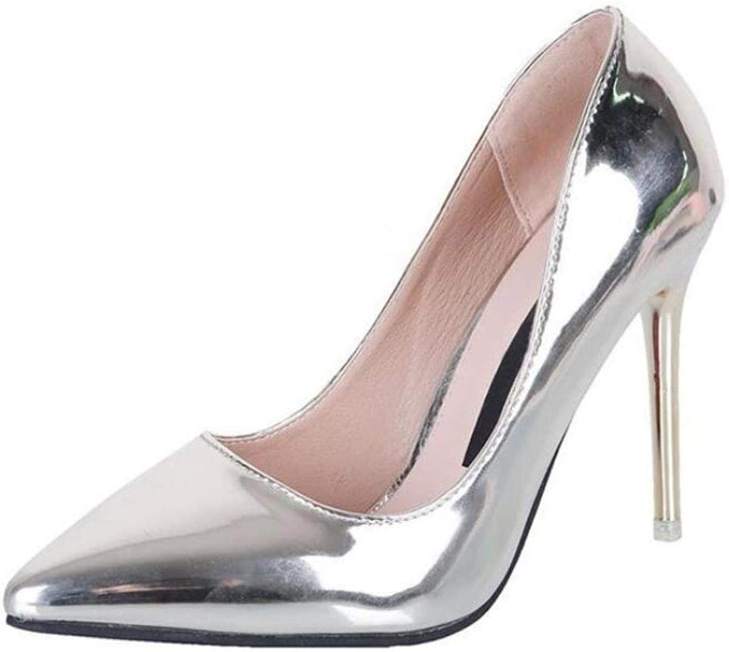 Women Spring Pointed Toe PU Leather Pumps Wedding High Heels