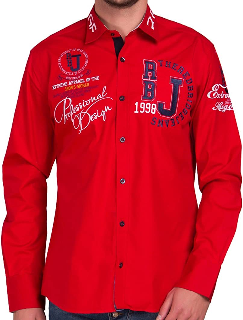 Camisa Casual Manga Larga Bordada para Hombre de Red Bridge