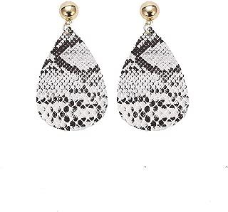 GoodCorserMall Women's Leather Earring Teardrop Snakeskin Print Leather Dangle Drop Earrings