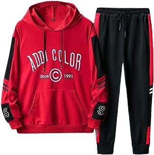 Men Long Sleeve Hoodies Sweatshirt Tracksuit Joggers Long Pants 2Pcs Sportswear Sets